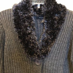 52 Weekends faux fur collar cardigan sweater